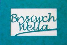 A laser cut card with the welsh word Brysiwch Wella