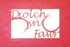 A laser cut card with the welsh word Diolch yn Fawr