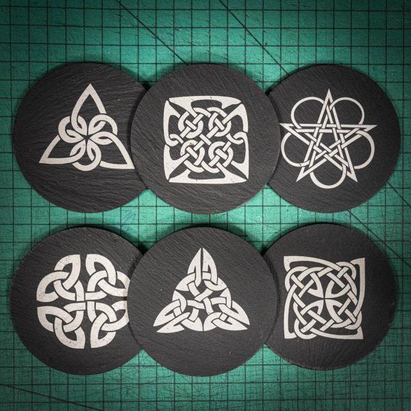 Six laser engraved Welsh slate coaster with Celtic Knots