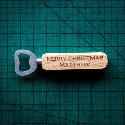 A personalised laser engraved bottle opener