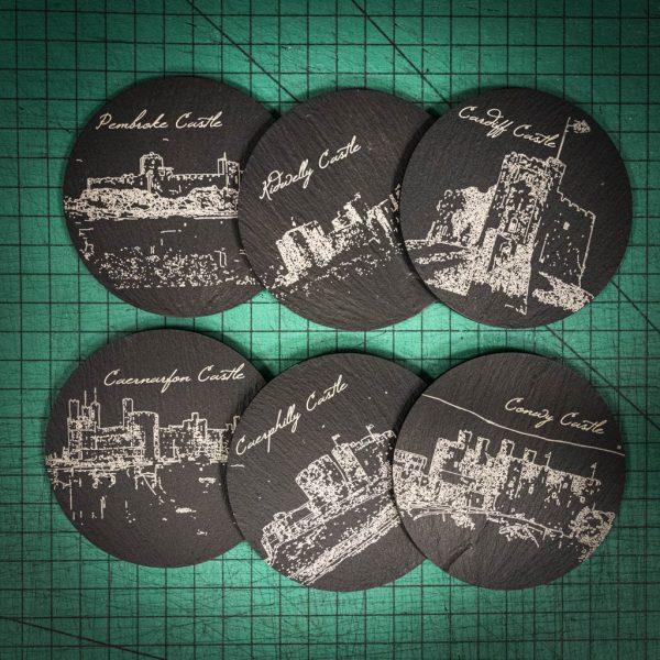 Six laser engraved Welsh slate coaster with images of Welsh Castles