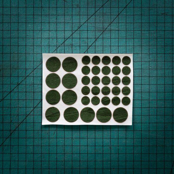Green felt or baize circles laser cut to various sizes