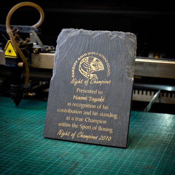 A medium rustic colour filled slate trophy